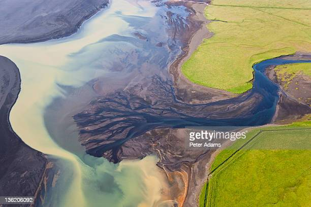 Aerial View of River Estuary or Delta,Iceland