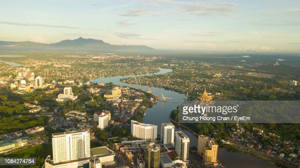 aerial view of river in city - sarawak state stock pictures, royalty-free photos & images