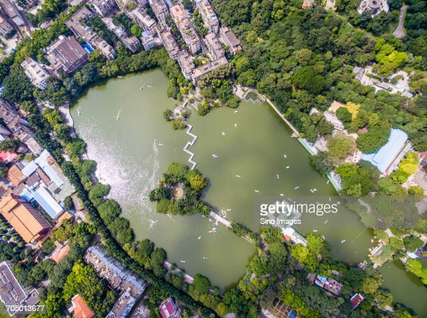 Aerial view of river in city