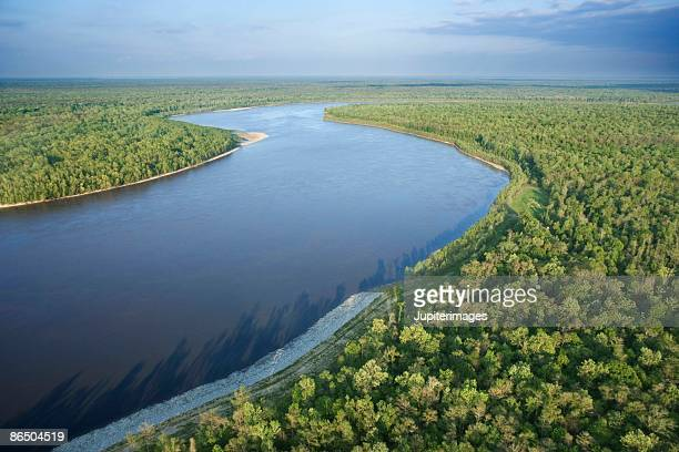 aerial view of river in lafayette, louisiana - louisiana stock pictures, royalty-free photos & images