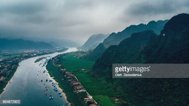 Aerial view of river in the mountains in Vietnam