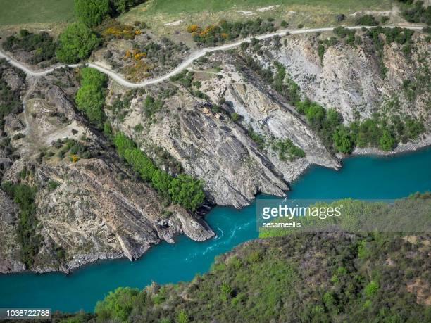 aerial view of river landscape, queenstown, south island, new zealand - region otago stock-fotos und bilder