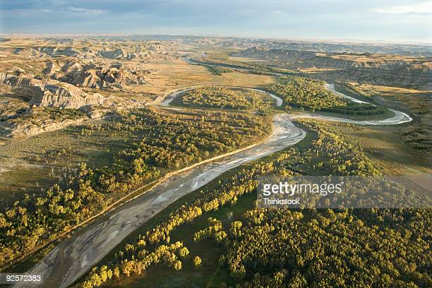 aerial view of river, north dakota - great plains stock pictures, royalty-free photos & images