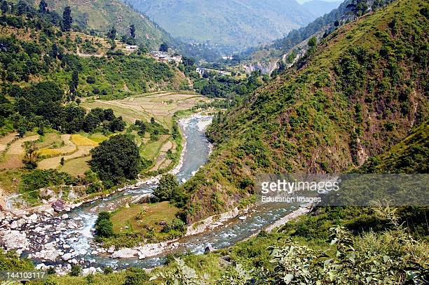 Aerial View Of River On Way To Mountain Top At Binsar, Uttaranchal, India.