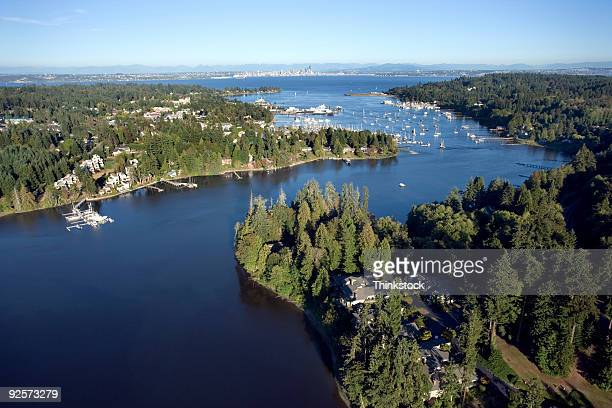 aerial view of river - kitsap county washington state stock pictures, royalty-free photos & images