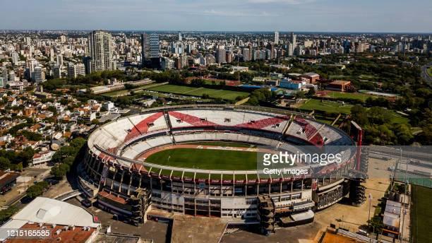 Aerial view of River Plate's Antonio Vespucio Liberti stadium, also known as Monumental Stadium, on March 27, 2020 in Buenos Aires, Argentina....