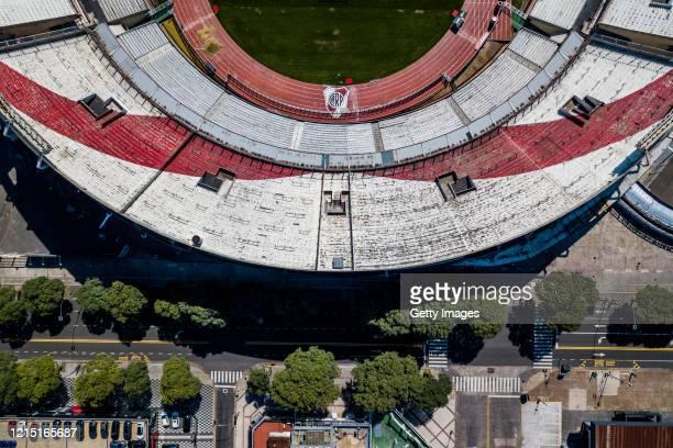 Aerial view of River Plate's Antonio Vespucio Liberti stadium also known as Monumental Stadium on March 27 2020 in Buenos Aires Argentina National...