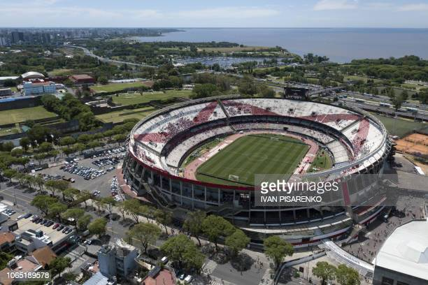 Aerial view of River Plate's Monumental stadium in Buenos Aires before the allArgentine Copa Libertadores second leg final match against Boca Juniors...