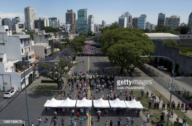 Aerial view of River Plate's supporters arriving at the Monumental stadium in Buenos Aires, to attend the all-Argentine Copa Libertadores second leg...