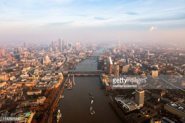aerial view of river thames and the city of london, uk - 2019 stock pictures, royalty-free photos & images