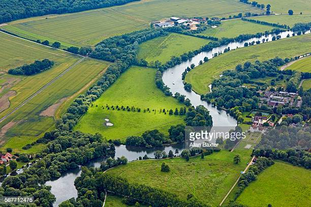 aerial view of river thames in buckinghamshire - berkshire england stock pictures, royalty-free photos & images