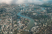 Aerial view of river Thames in London
