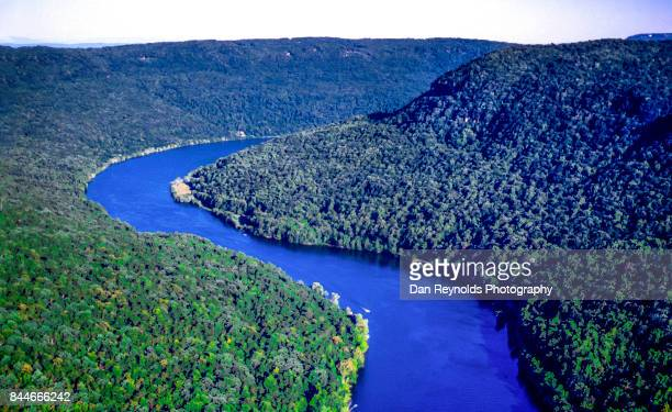 Aerial view of River through River Gorge with curving river