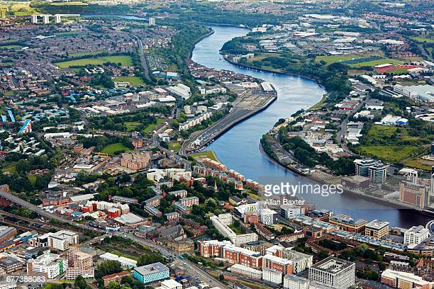aerial view of river tyne in newcastle upon tyne - newcastle upon tyne stock pictures, royalty-free photos & images