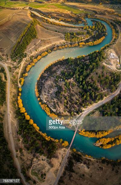aerial view of river, wanaka - image stock pictures, royalty-free photos & images