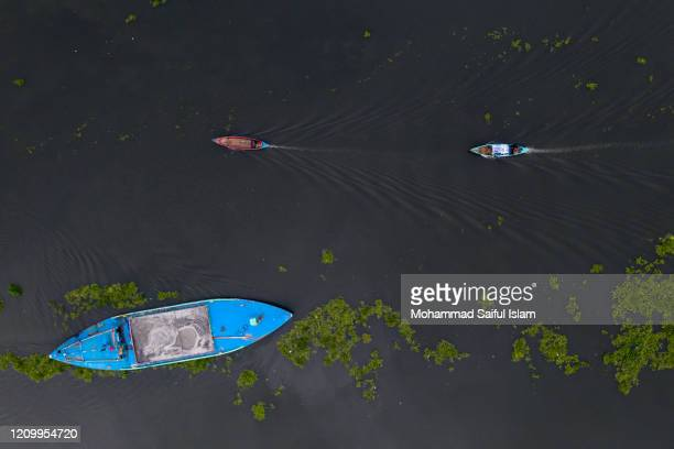 aerial view of riverine bangladesh near dhaka city - dhaka stock pictures, royalty-free photos & images