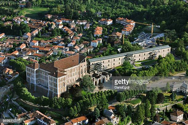 aerial view of rivoli castle, turin, piedmont - piedmont italy stock pictures, royalty-free photos & images