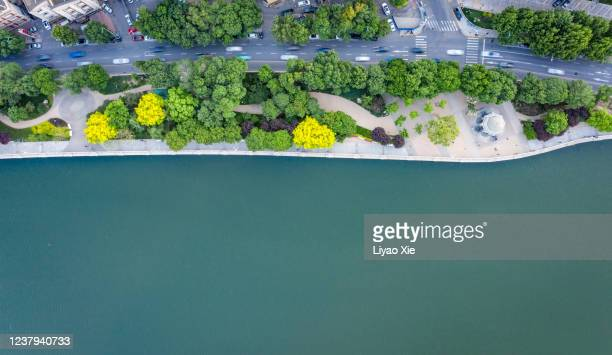aerial view of road along the river - liyao xie stock pictures, royalty-free photos & images