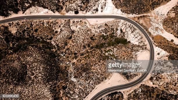 Aerial View Of Road Amidst Desert
