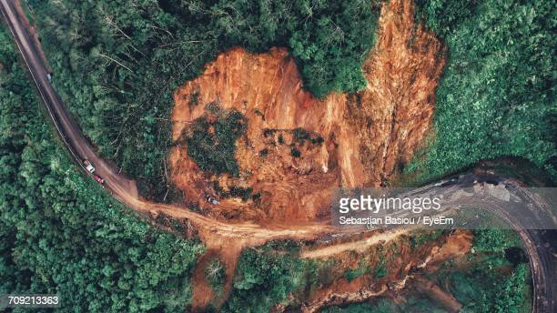 Aerial View Of Road Amidst Mountain