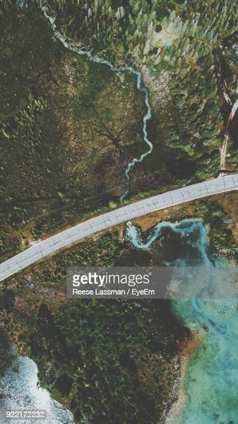 Aerial View Of Road Amidst River
