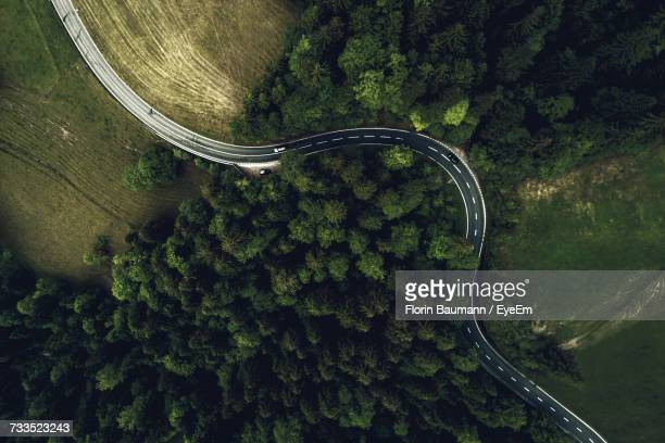 aerial view of road amidst trees in forest - aerial view stock-fotos und bilder
