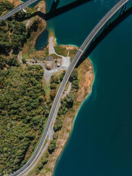 Aerial view of road by sea,Campina Grande do Sul,Brazil