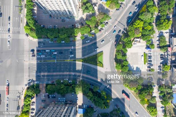 aerial view of road cross - liyao xie stock pictures, royalty-free photos & images