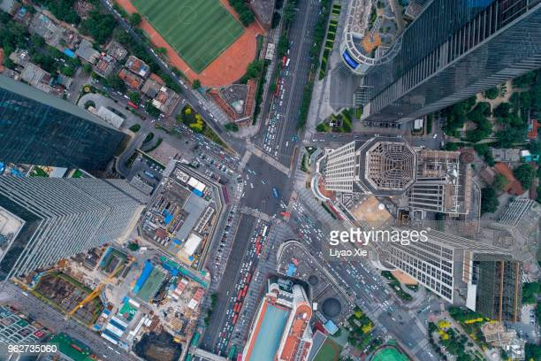 aerial view of road cross section - urban sprawl stock pictures, royalty-free photos & images
