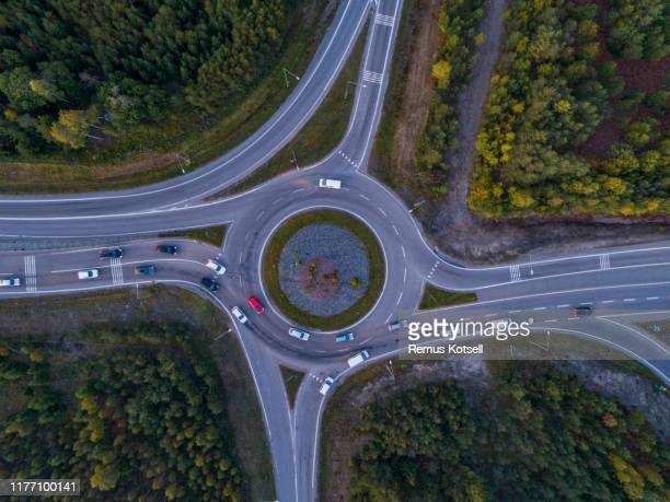 aerial view of road in a rural landscape - traffic stock pictures, royalty-free photos & images