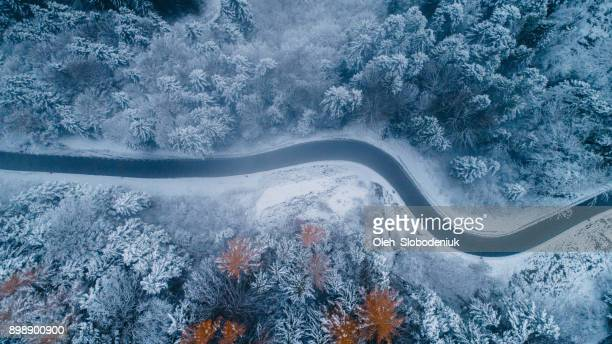 aerial view of road in winter - ukraine landscape stock pictures, royalty-free photos & images