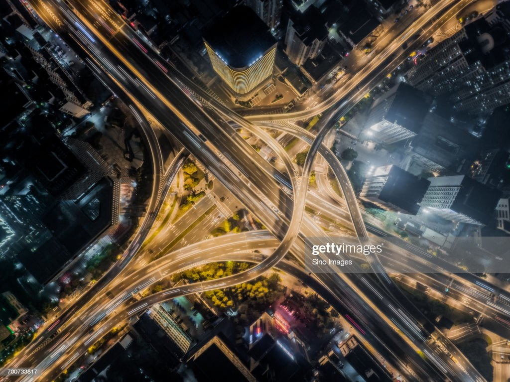 Aerial view of road interchange at night : Stock Photo