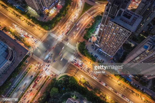 aerial view of road intersection - tokyo midtown stock pictures, royalty-free photos & images