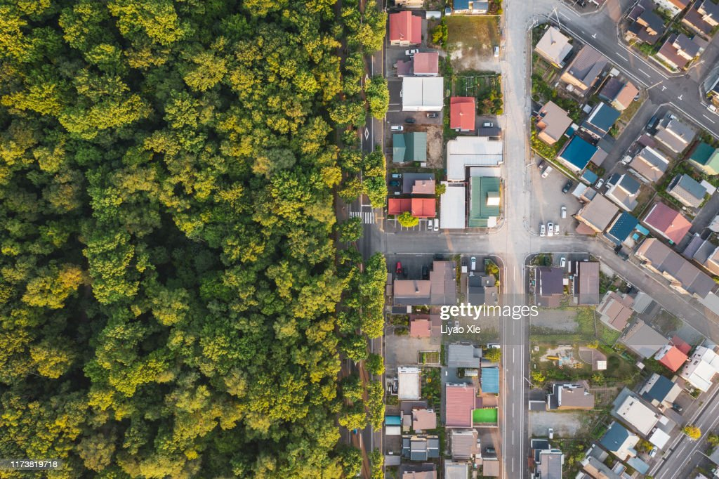Aerial view of road intersection : Stock Photo