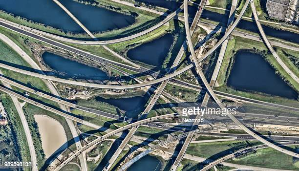 Aerial view of road junction. Florida, USA