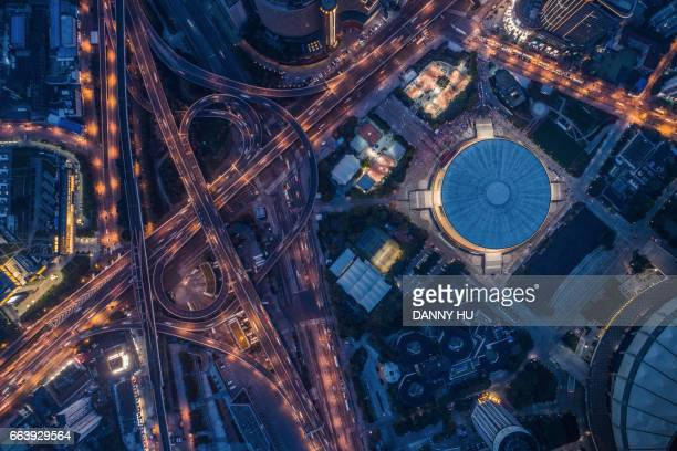aerial view of Road junction in Xuhui district in the evening,Shanghai
