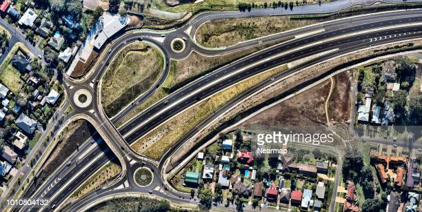 Aerial view of road junction. Victoria, Australia