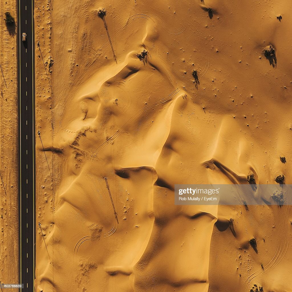 Aerial View Of Road On Desert : Stock Photo