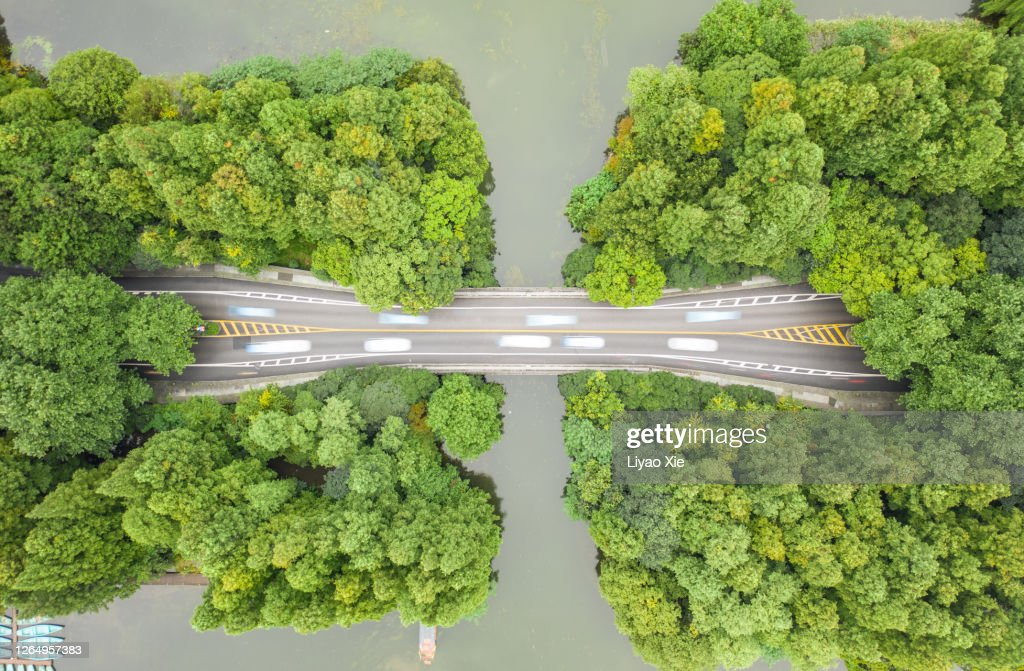 Aerial view of road over West Lake : Stock Photo