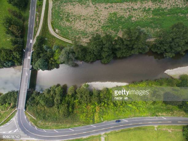Aerial view of road with stream.