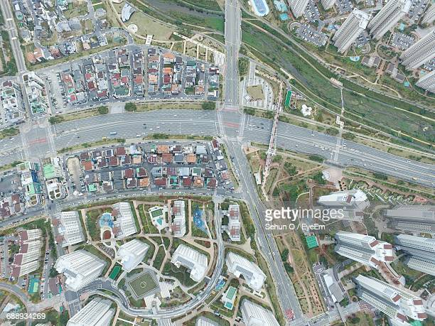 Aerial View Of Roads And Buildings In City