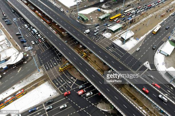 aerial view of roads in warsaw, poland. - warsaw stock pictures, royalty-free photos & images