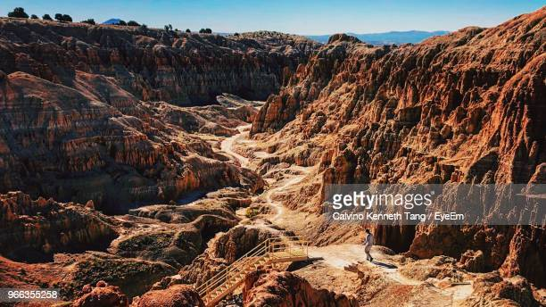 aerial view of rock formations - nevada stock pictures, royalty-free photos & images