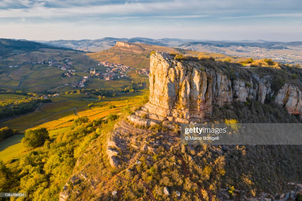 Aerial view of Rock of Solutre at sunset, Burgundy, France : Stock Photo
