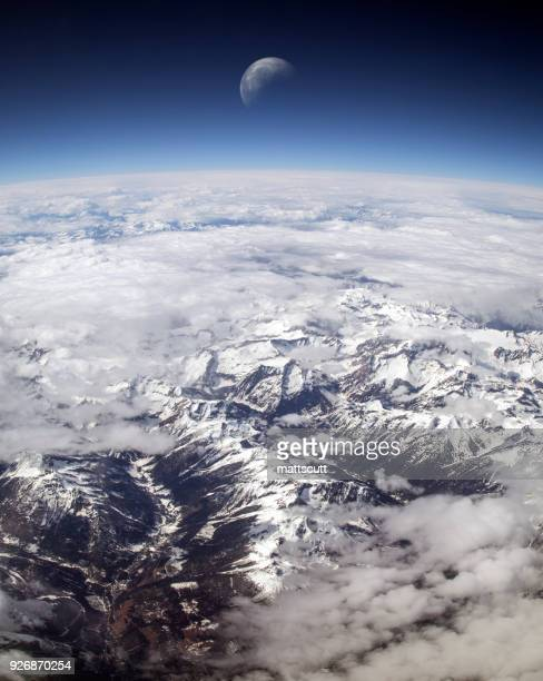 Aerial view of rocky mountains, Washington, America, USA