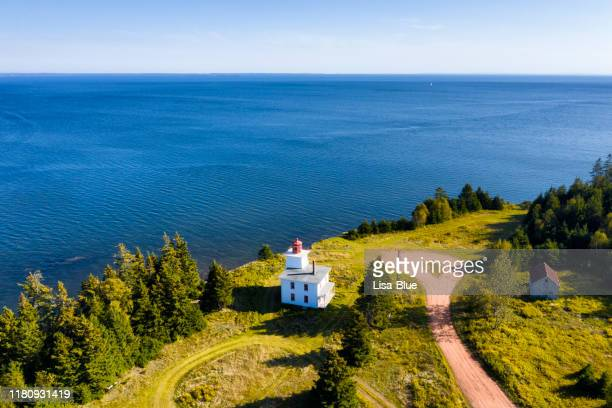 aerial view of rocky point lighthouse, prince edward island, canada - cape breton island stock pictures, royalty-free photos & images