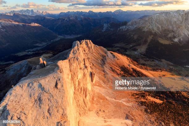 Aerial view of Roda Di Vael, Dolomites, Italy