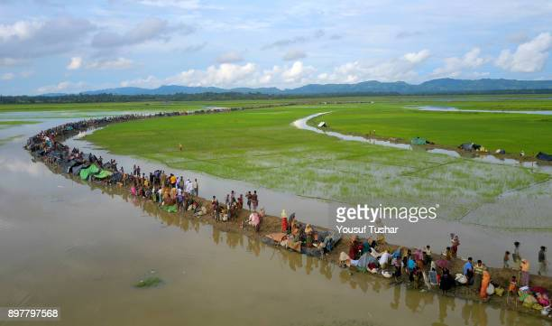 Aerial view of Rohingya refujees are waiting to go camap at Palongkhali Coxs bazarThousands of Rohingyas still crossing the border between Myanmar...