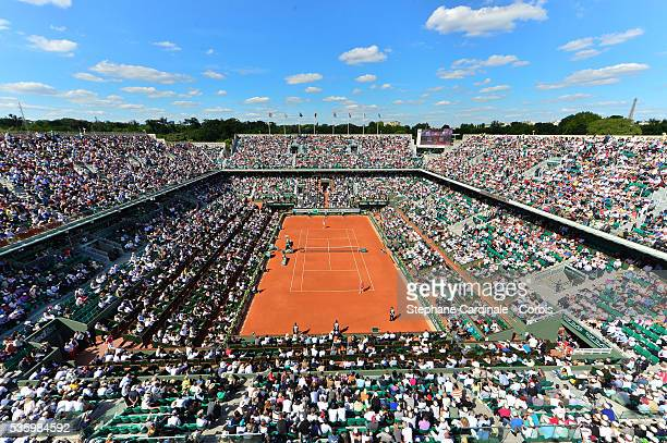 Aerial View of Roland Garros during the women's singles semifinal match on day twelve of the French Open at Roland Garros on June 5 2014 in Paris