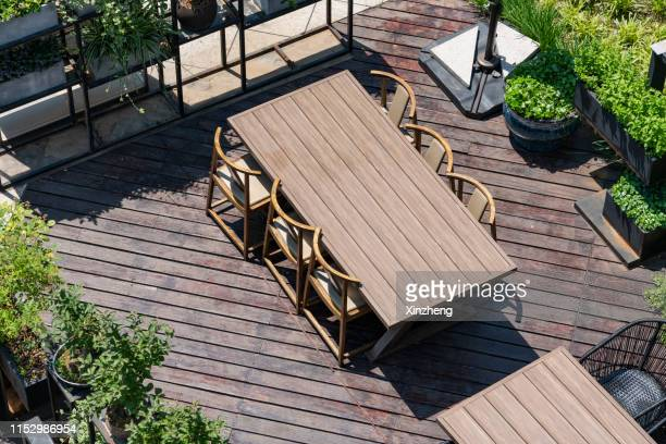 aerial view of roof terrace - building terrace stock pictures, royalty-free photos & images